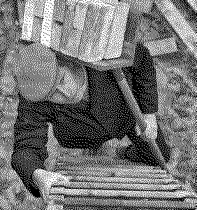 Een zwart-wit foto van een man die met een schep bakstenen naar boven tilt op een trap
