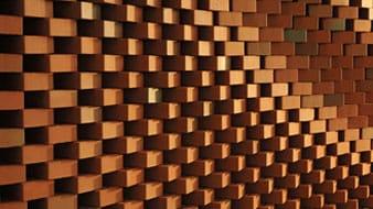 Golvende muur van gevelstenen