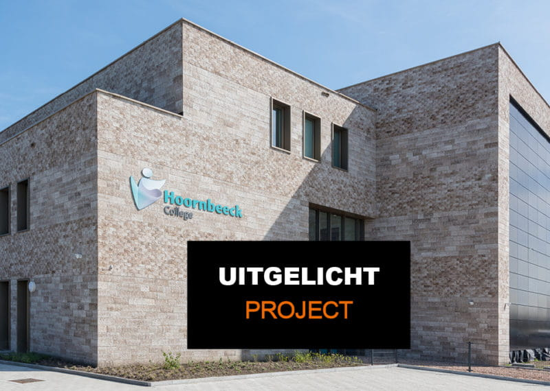 Hoornbeeck college in Goes. Gevel met een lichte Clickbrick