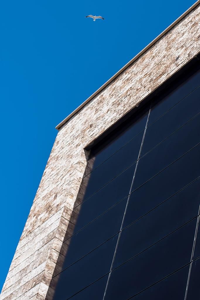 Gebouw met lichte steen van onderen gefotografeerd tegen een blauwe lucht met een zeemeeuw