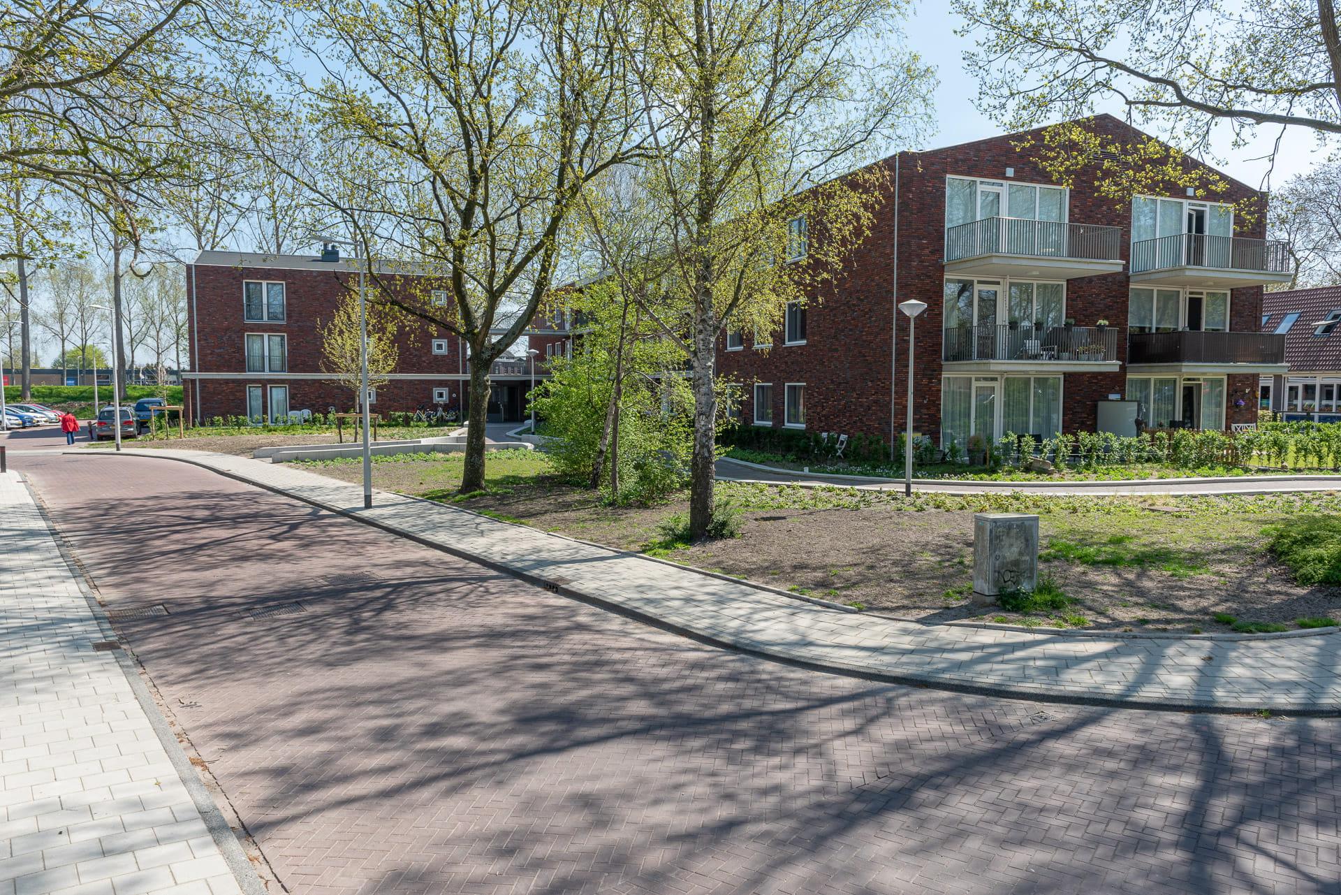 Vanaf een weg zicht op een roodbruin gebouw met bomen op de voorgrond
