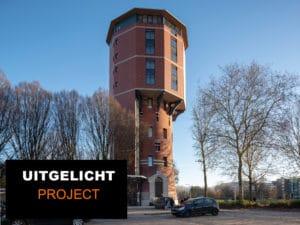 Watertoren in Zwolle bekleed met roodbruine Argeton