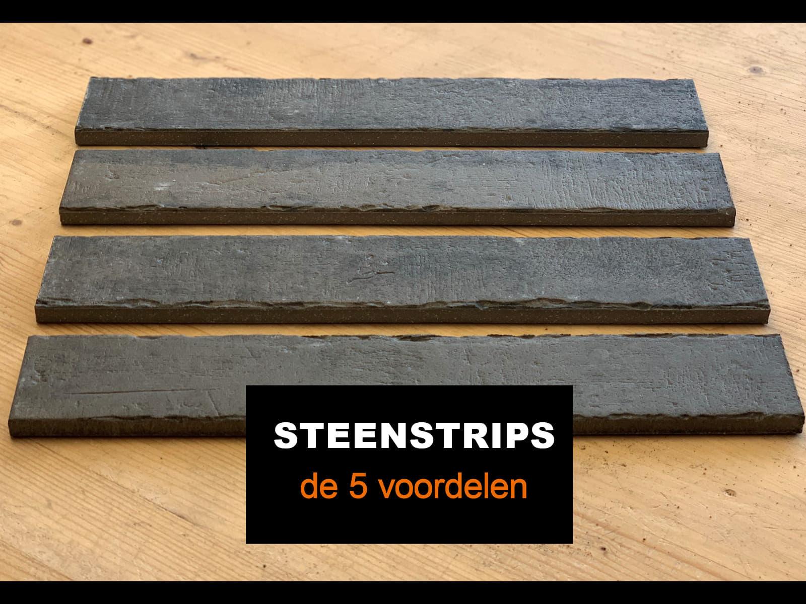 vier steenstrips op een houten achtergrond