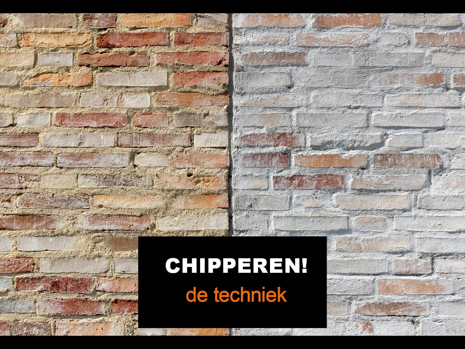 detail van een muur met in het midden een scheiding, links met een gelige steen en rechts met mortel over de gevel dat heet chipperen