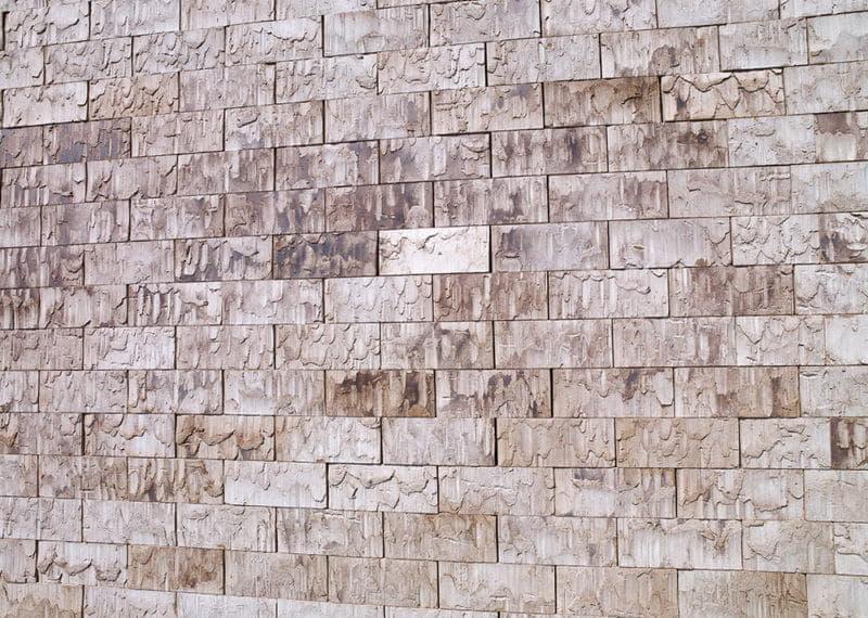 Detail van een muur van ClickBrick bij Sharing Tower in Amsterdam