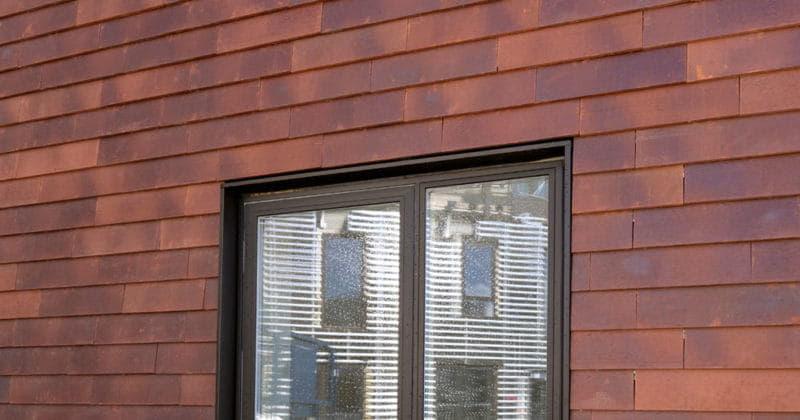 Muur met grote sidings van het keramische gevelsysteem Pantheon Nordic met twee ramen met zwarte kozijnen en een groene struik voor de ramen