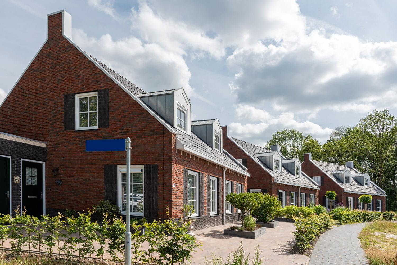 Rij met huizen met roodbruine bakstenen en donkere dakpannen