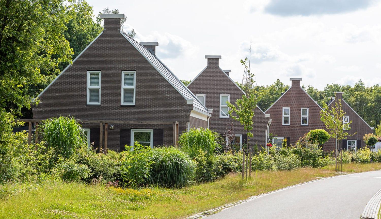 Een aantal woningen achter elkaar in het groen met een donkere baksteen