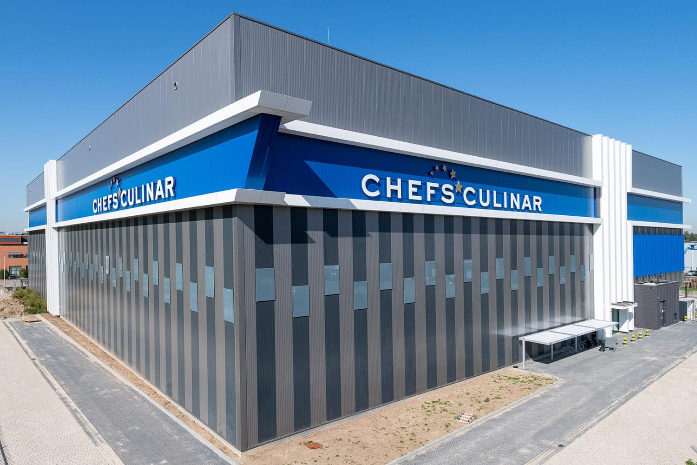 Hoekaanzicht van de gevel van het nieuwe gebouw van Chefs Culinar